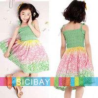 Retail new baby beach Bohemian sundresses for little girl summer flower bow design tank dress girls clothing K0472
