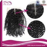 "Kinky Curl Virgin Mongolian Cheap Human Hair Lace Closure 4""*4"""