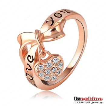 LZESHINE Brand Black Enamel Love You Ring Heart Bow 18K Rose Gold Plate Austrian ...