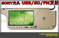 car dvd for sunvisor DVD player hight quality 7 inch screen,USB/SD/GAME/option right/left side, free shipping