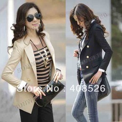 2013 new elegant fashion Double-Breasted OL style long sleeve jacket coat ladies blazer 2 Size Apricot Black free shipping 7267(China (Mainland))