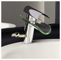Free Shipping Kitchen Sink Bathroom Basin Glass Tap Waterfall Faucet tub Modern Fashion Sanitary Ware