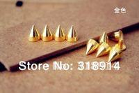 Free Shipping! 50pcs 7*9.5mm Gold Metal Bullet Stud Punk Rock Spike DIY Rivet for Fashion Accessory