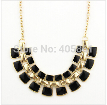 2014 Trendy Necklaces Pendants Link Chain Collar Long Plated Enamel Statement Bling & Fashion Necklace Women Jewelry (N1-143)