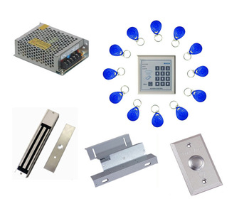 Free ship by DHL ,access control kit ,one EM keypad access control+power+magnetic lock+ZL bracket+button+10 em card,sn:em-004