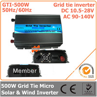 500W DC10.5V~28V AC90V-140V 50Hz/ 60Hz Pure Sine Wave Micro Inverter for 600W PV System  solar & wind inverter  on grid inverter
