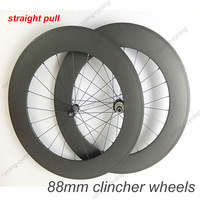 FREE SHIPPING Straight Pull 88mm clincher bicyclie wheelset 700c Carbon fiber road Racing bike wheels