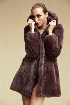 Lady Genuine Natural Rex Rabbit Fur Coat Jacket With Hoody Winter Women Fur Trench Outerwear Coats Garment QD6350