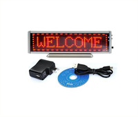 Red LED Scrolling Sign Display LED Mini Message Programmable with USB Rechargeable/Edit By PC/16x64 dots Multi- Languages