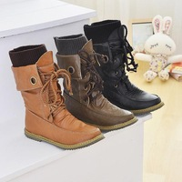 New 2014 fashion army military boots women motorcycle martin ankle boots for women boots leather flats boots shoes EUR 35-43