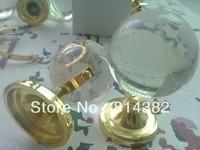 Free Shipping Mini 40cm Glass Transparent Earth Map Globe Earth Ball Office Gift Silver/Golden Metal Plastic Base 61*32*40cm+Box