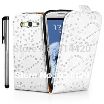For galaxy s3 case,Diamond bling flip leather case cover for Samsung Galaxy S3 III i9300+Free Gift Stylus,Worldwide Free Shiping