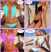 Plus Size 2014 New Sexy Halter Fringe Tassel BOHO TOP Bra Padded Bath Beach Swimwear Swimsuit For Women S-XL