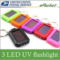 Mini 3 LED Solar Powered Flashlight Torch Keychain ,ship radom! don't specify color!!!