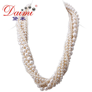 DAIMI Chunky Pearl Necklaces,  Cultured Freshwater Pearls  8 Strand Pearl Necklace, Wholesale Retail Party Necklace, VARIOUS