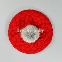 Children Warm Winter Rabbit Fur Ball Child Hat Crochet Girls Boys Hat Gift 3Colors 5400