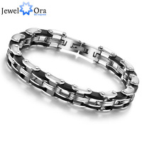 Wholesale Free Shipping Casual Sporty Silver Bracelets & Bangles #BA100159 JewelOra 210mm Stainless Steel Men's Bracelet