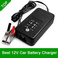 Original 12V Car Battery Charger 12V Lead Acid Charger Motorcycle Charger For SLA,AGM,GEL,VRLA,Charge Mode 4 Stages,MCU Control
