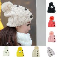New 2015 Winter Cap Women Warm Woolen Knitted Fashion Hat  For Gilrs Jonadab Button Twisted Beanie Cap Woman Fur Cap Accessories