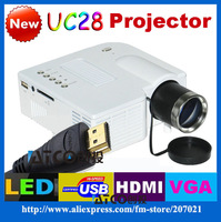 Freeshipping By HK POST Genuine UC28 Protable Pocket Mini Game Digital LED HDMI Video Projectors with HDMI,VGA, AV, USB,SD Card