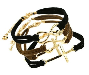 Top quality Fashion Jewelry cross anchor infinite multicolor charm leather bracelet for women gril 0 mix color B532