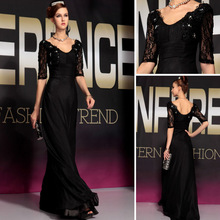 DORISQUEEN 30738new arrival free shipping ruffle half sleeve red bead Gorgeous Sexy Black Formal long Evening Dress Fashion 2015(China (Mainland))