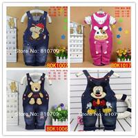 New Baby kids Bear / Rabbit / Dog Jeans Romper, girl pants jumpsuits children's denim overalls 1-3year