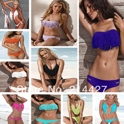 Brand New Sexy Swimwear Women Padded Boho Fringe Bandeau Top Strappy Dolly Bikini Set High Fashion Bathing Suit Lady Swimsuit(China (Mainland))