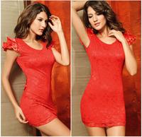 New 2014 Fashion Women Sheath Sleeveless V-neck Backless Sexy Club Mini Dress Vestido De Renda G2461