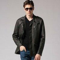 O freeshipping autumn winter dark gray man military style casual Locomotive long cotton jacket coat outwear top cloth WM06134
