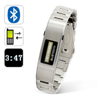 Silver 2.4GHz cellphone mobile phone bluetooth wristband bracelet vibrate with caller ID