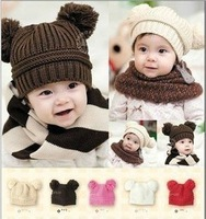 2014 Fashion Korean baby hat winter Dual Ball Girls & Boys Wool Caps Cartoon designs  wholesale children hats C036 free shipping