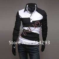 2014 Spring New Mens Slim Stylish  Fit Men Casual Shirts Long Sleeve T-shirts Tee 2 Colors 4 Size Free Shipping3627