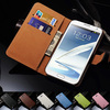 Black Genuine leather case for samsung Galaxy Note 2 ii N7100 with Stand Wallet Card Holder Flip Cover with 1 bill site