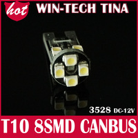 Free shipping 10pieces/lot  T10 Canbus Car led lamp W5W/194/T10 8 SMD 3528 LED Car Instrument lights white no Error