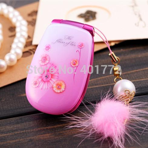 Sbloccato telefono della signora w666 w/fiore rinestone musica leggera radio bluetooth dual sim card gsm mini telefono ragazza regalo russo keboard