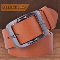 Fashion Timed brand pin buckle mens jeans trouser belt genuine leather belts for men
