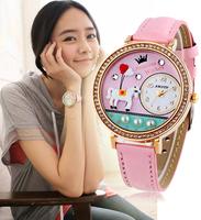 New 2014 Amtun Mini Korean Clay Women Dress Watch Cartoon Rhinestones Cute Leather Girls Wristwatch