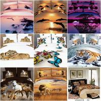 Tiger Leopard Horse Wolf 3d bedding set queen 4pcs animal printed duvet/quilt/comforter cover cotton bedclothes bed sheets linen