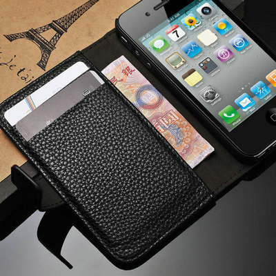 Luxury Wallet Leather Stand Design case for iphone 4 4S 4G PU Original New Arrival with Card Holder Litchi Grain Pink Black(China (Mainland))