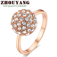 ZYR090 Clear Ball 18K Rose Gold Plated Ring Made with Genuine SWA ELEMENTS Crystals From Austria 4 Multi Sizes Wholesale