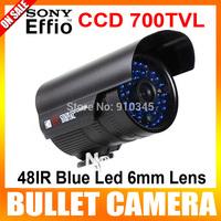 "Geniuine 1/3"" Sony Effio-e 700TVL 48IR Blue LED 6mm Lens IR Night Vision CCTV Camera Waterproof  Bullet Camera With Bracket"