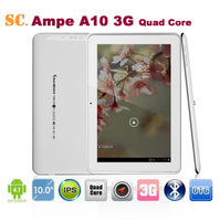 "10.1"" IPS 1280*800 Ampe A10 3G Quad Core Qualcomm Tablet PC Android 4.1 Built-in 2G/3G/GPS/BT Dual Camera 1.0MP 4G ROM"