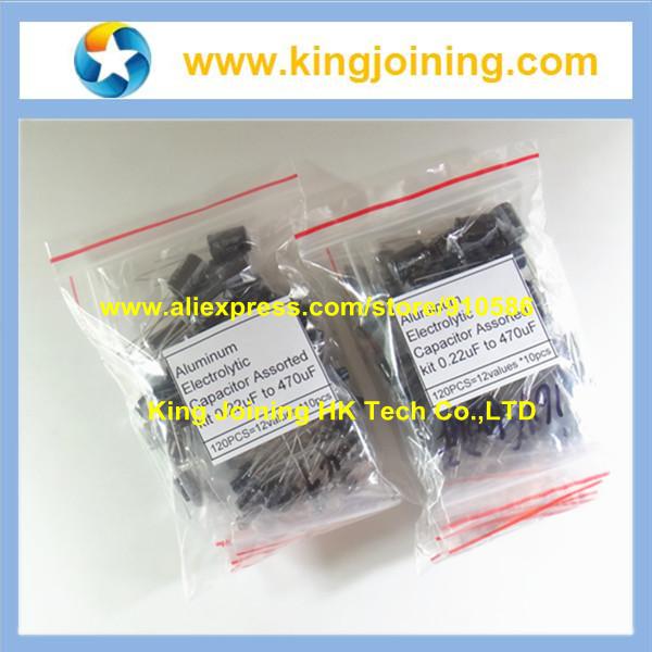 240PCS/2Packs 120PCS=12values *10pcs 0.22uF to 470uF Aluminum Electrolytic Capacitor Assortment kit(China (Mainland))