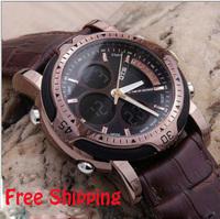 Multifunctional waterproof genuine leather male watch business casual luminous alarm clock calendar mens watch free shipping