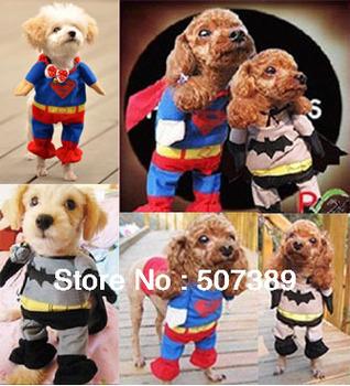 Dog Cat Superman Romper Pet Clothes Puppy Apparel Outfit Size XL L M S XS