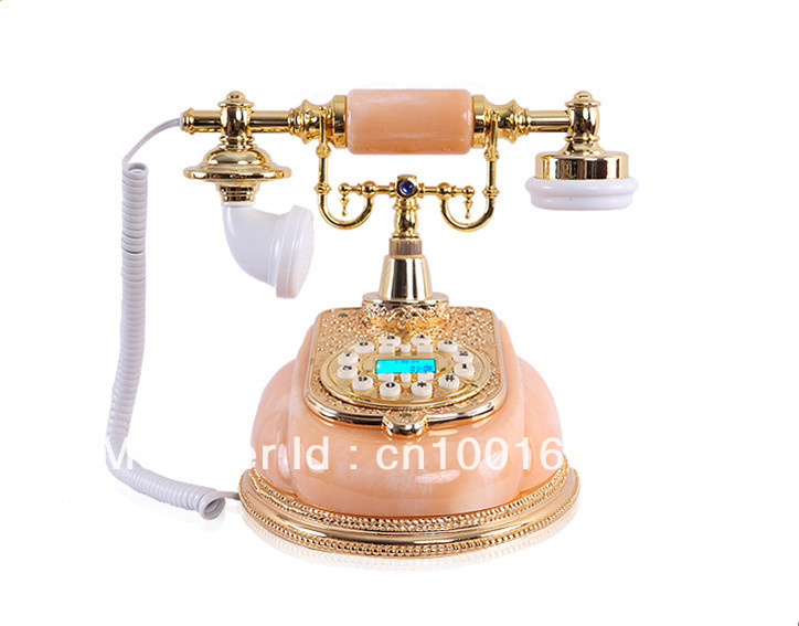 European-stylish telephone / jade with metal retro telephone/ Luxury craft ornaments/Caller ID, Jade telephone(China (Mainland))