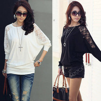 New 2013 Women Clothing Lace T Shirt Fashion Long Batwing Sleeve Loose Tops Blouse Pullover Plus Size XL Black White Sale 0008
