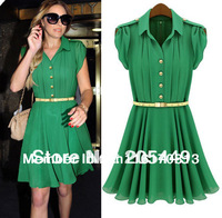 Free Shipping,Hot Women Celebrity Style Short Knee-length Casual Chiffon Dress Free Belt US S,M,L,XL