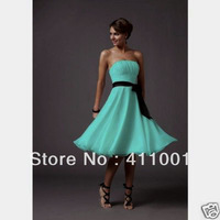 XS-2XL 3XL 2014 Classic Style HERBBLUE A-line Knee-Length Chiffon Bridesmaid Dresses Bridal Gowns Party Dress in Stock All Sizes